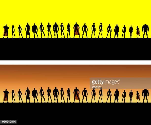 Vector League of Superheroes Silhouette