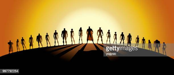 vector league of superheroes silhouette - heroes stock illustrations