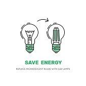 vector LED energy saving lamp