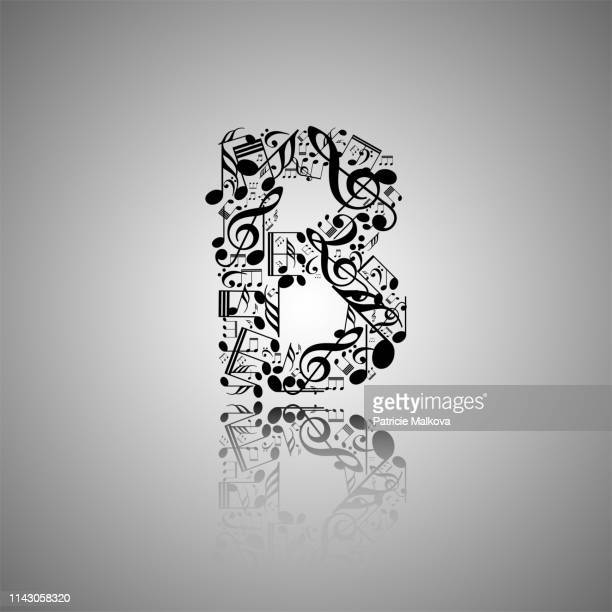 vector letter b made from music notes, alphabet collection made from music notes, musical letter - letter b stock illustrations