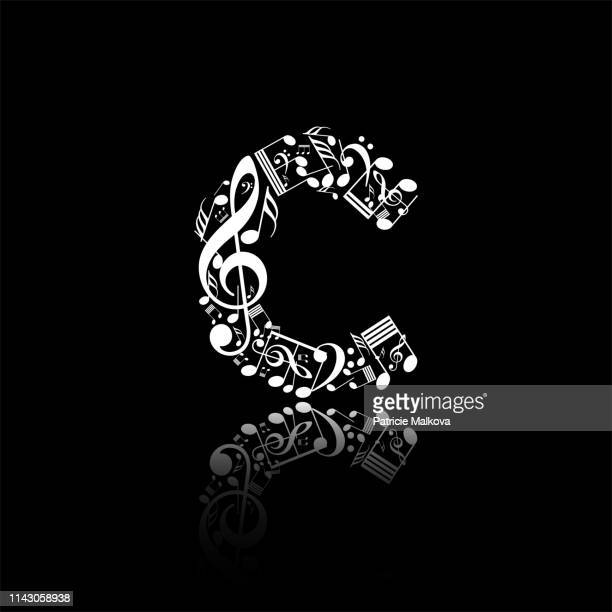 ilustrações de stock, clip art, desenhos animados e ícones de vector letter c made from music notes, alphabet collection made from music notes, musical letter - letrac