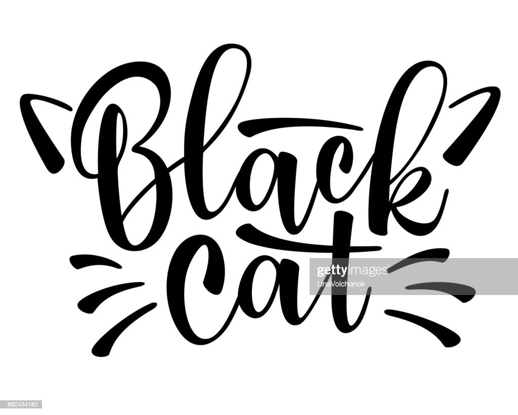 Vector lettering Black cat with cute cat whiskers