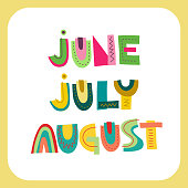 Vector lettering of summer months: June, July, August.