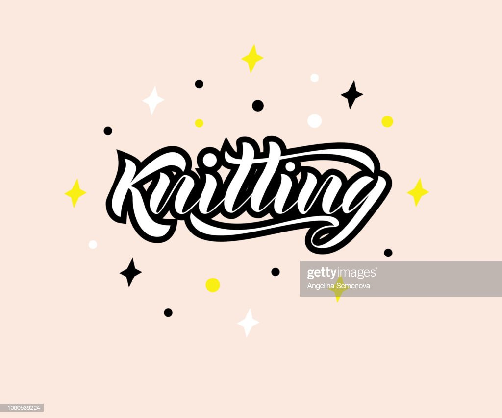 Vector lettering of the word Knitting