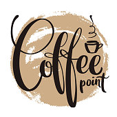 Vector lettering with coffee point words on painted background. Hand written calligraphy.