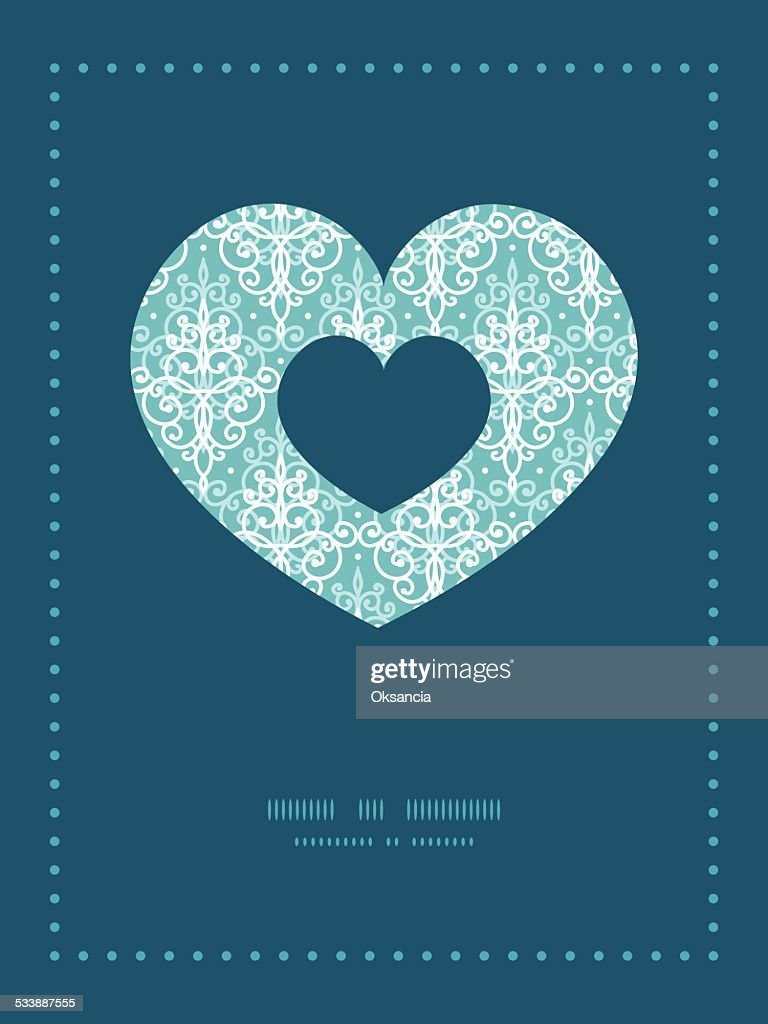 Vector light blue swirls damask heart symbol frame pattern vector light blue swirls damask heart symbol frame pattern invitation vector art stopboris Image collections