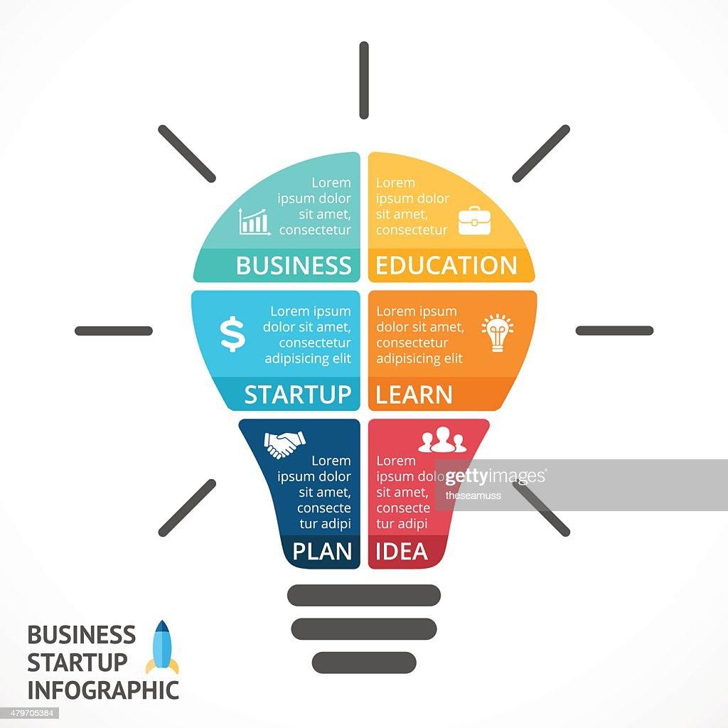 Vector Light Bulb Infographic Template For Circle Diagram Graph Idea With Creative Presentation Art