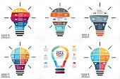 Vector light bulb infographic. Template for circle diagram, graph, presentation