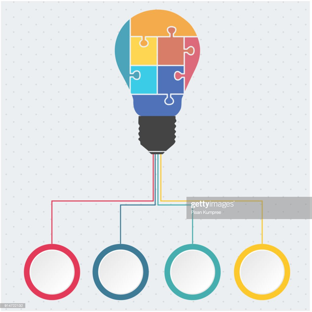 Vector Light Bulb Infographic Template With 4 Options Image Idea For Creative Diagram Art