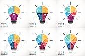 Vector light bulb infographics set. Template for circle diagram, graph