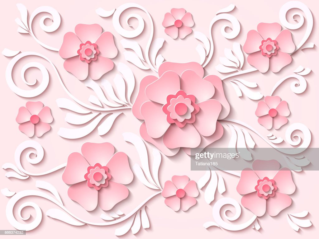 Vector Light Pink Paper Cut Out Floral Background With Flowers And