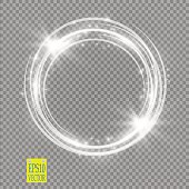 Vector light ring. Round shiny frame with lights dust trail particles isolated on transparent background