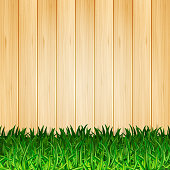 Vector light wood background with grass