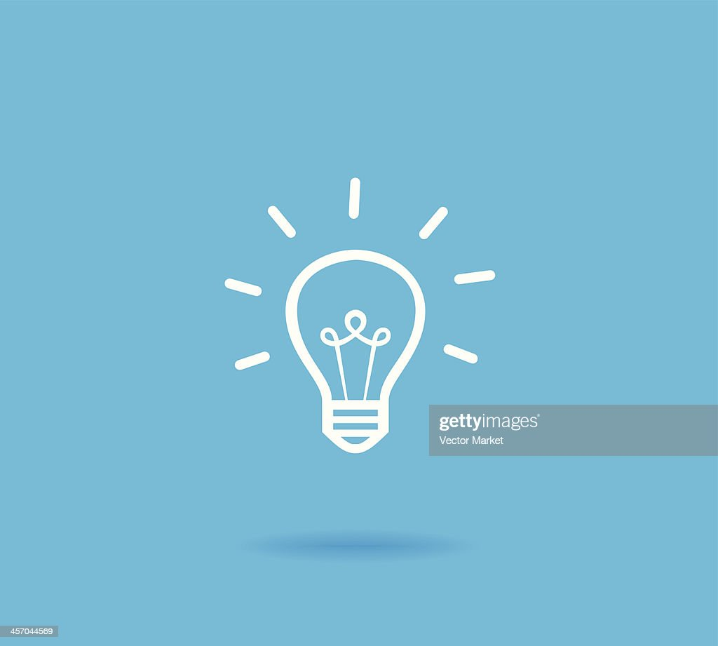 Vector Lightbulb Icon Symbol Blue