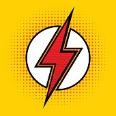 Vector lightning in pop art style. Sign of superhero.