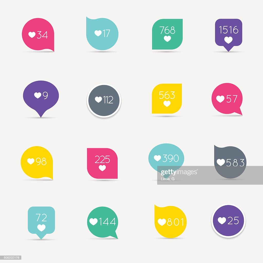 Vector Like Counter button icon set. Communication and network,