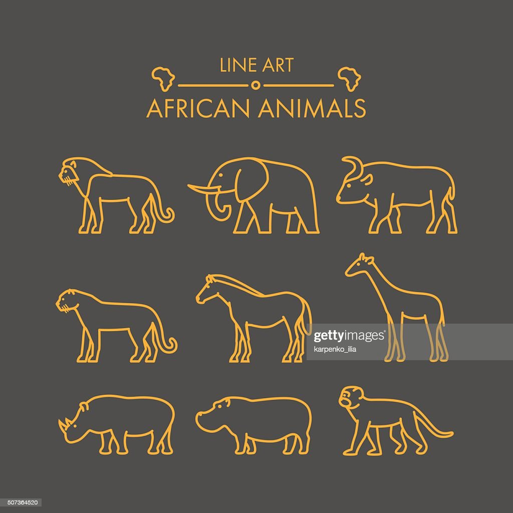 Vector line african animals icon set.