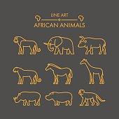 Vector line african animals icon set.