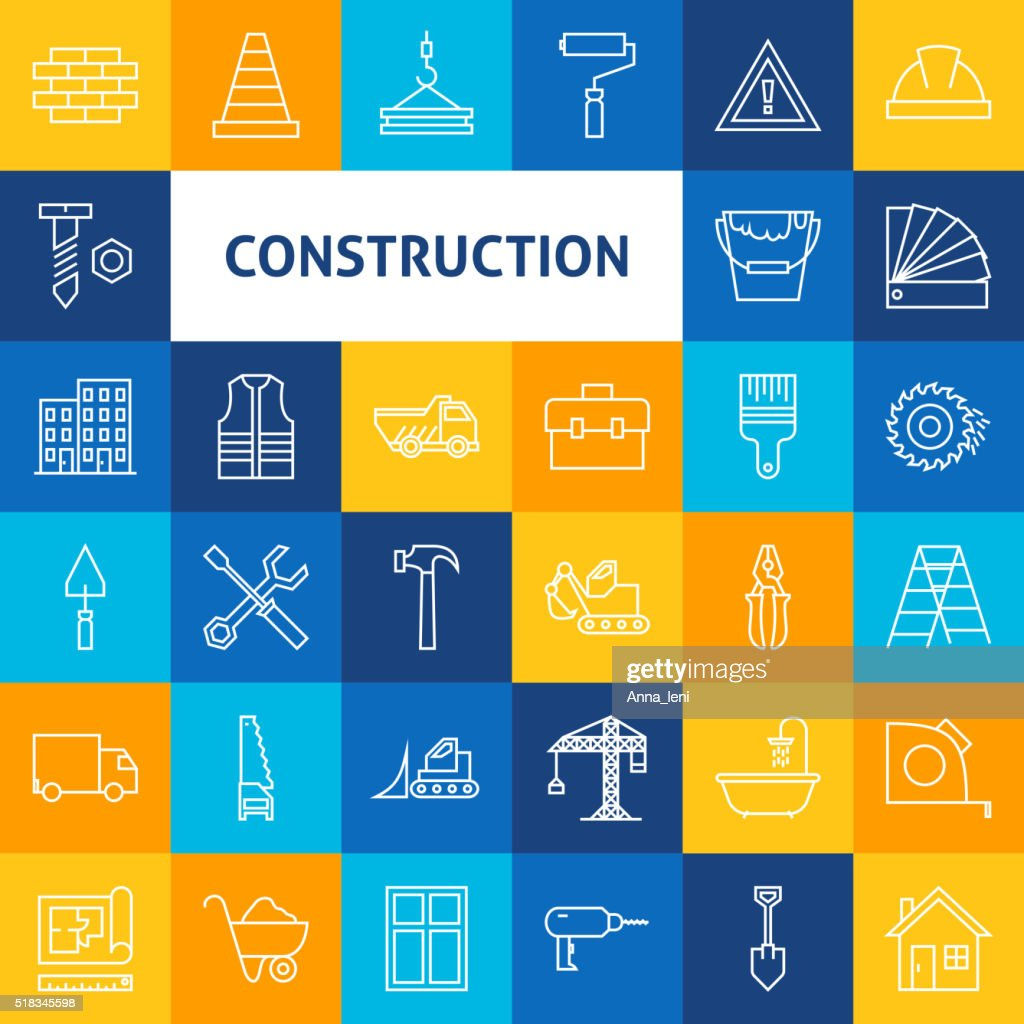 Vector Line Art Construction Icons Set