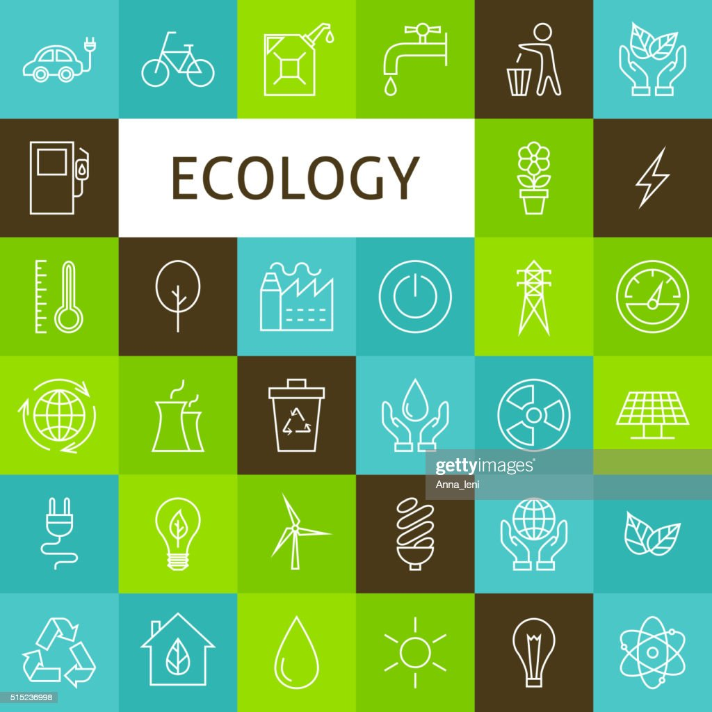 Vector Line Art Ecology Green Power Icons Set