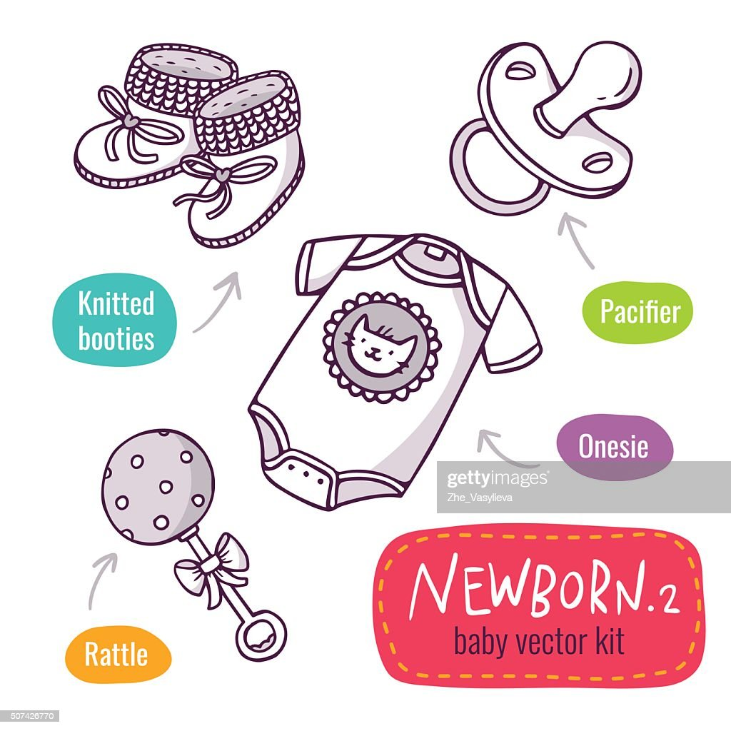 Vector line art icon set with baby products for newborns