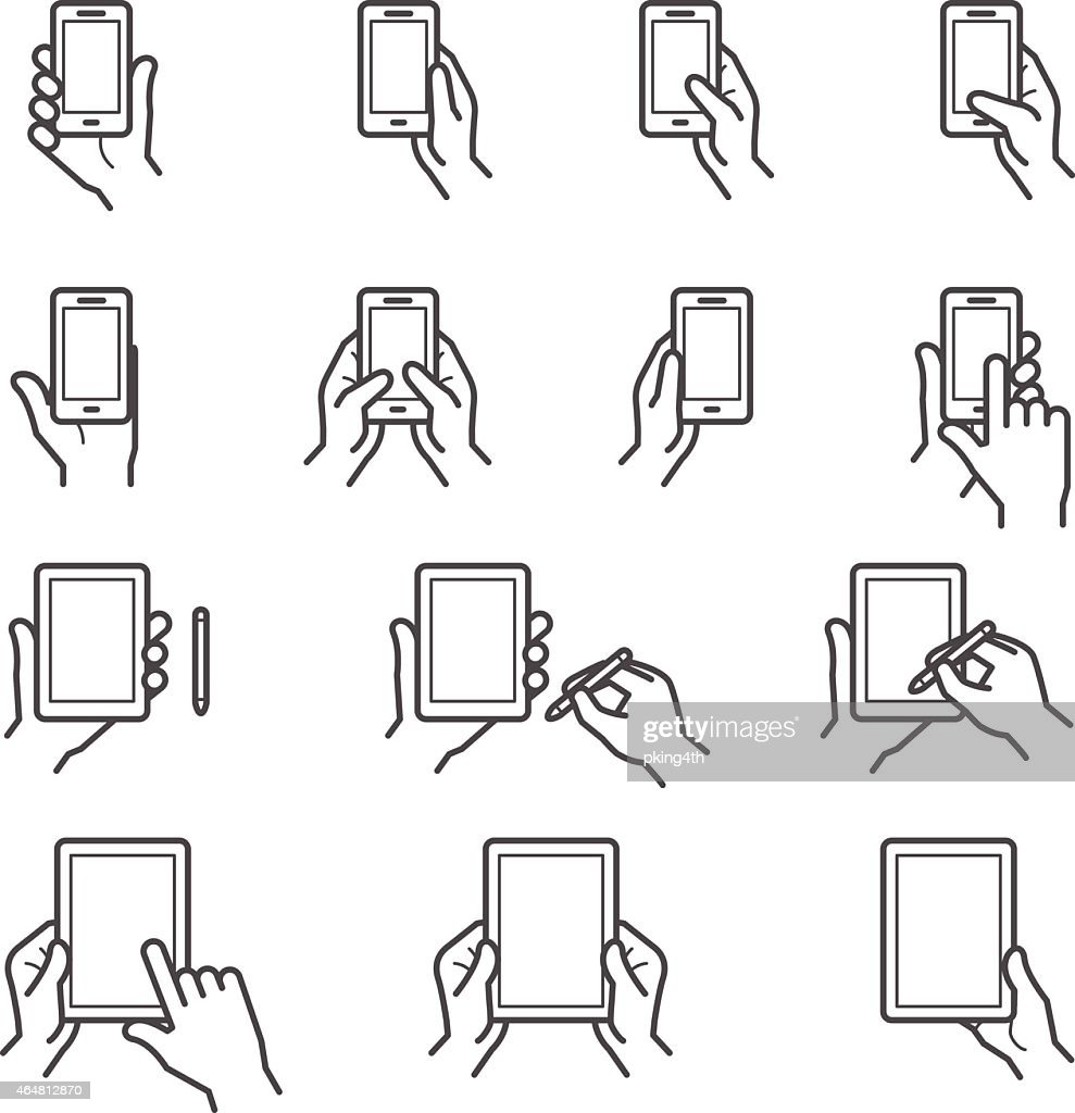 Vector line art of hands holding digital devices