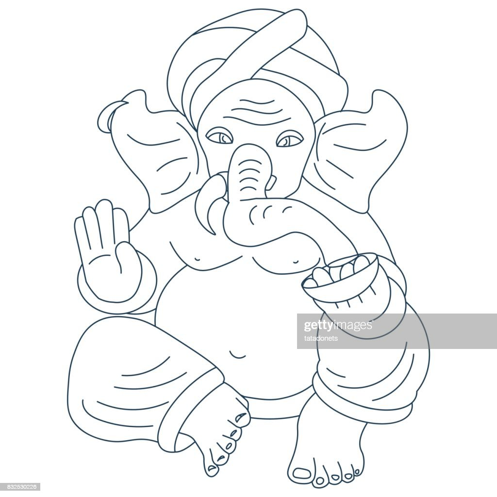 Vector line art or linear illustration of Hindu god lord Ganesha also known as Ganapati, Vinayaka and Binayak. Also could be used as Ganesha illustration in tattoo style.