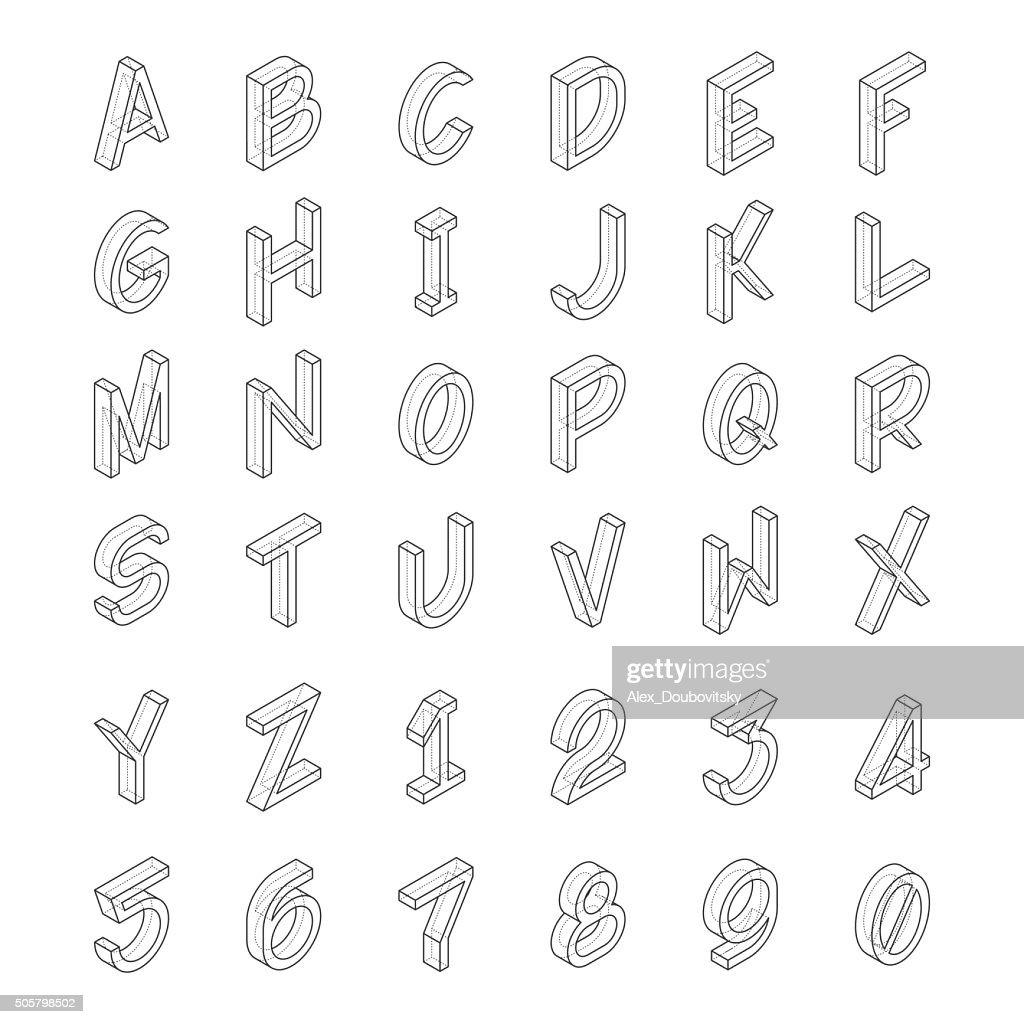 Vector line art transparent alphabet in isometric style.