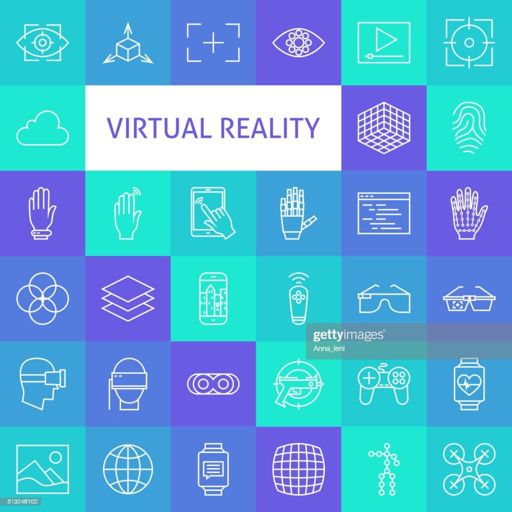 Vector Line Art Virtual Reality Icons Set