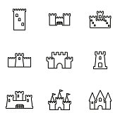 Vector line castle icon set