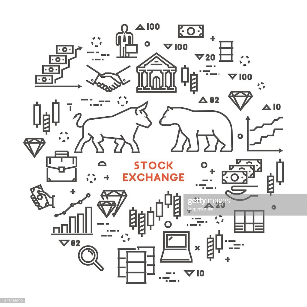 Vector line concept stock exchange