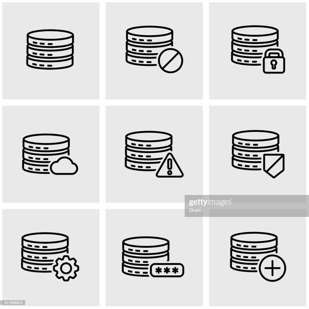 Vector line database icon set