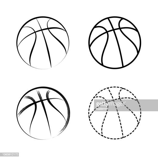vector line drawing basketball icon - basketball sport stock illustrations