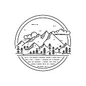 Vector line emblem with mountain landscape, forest, sea and clouds.