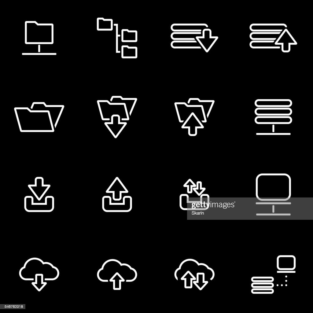 Vector line ftp icon set