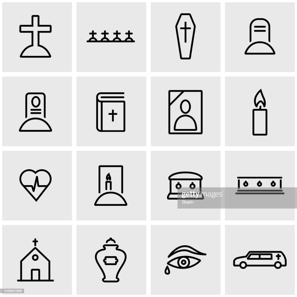 Vector line funeral icon set