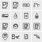 Vector line gas station icon set