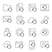 Vector Line Icon Set of Restore Recovery. Contains Restore Data, Backup, Resend and more.
