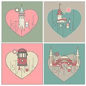 vector line icon style illustrated istanbul landmarks set