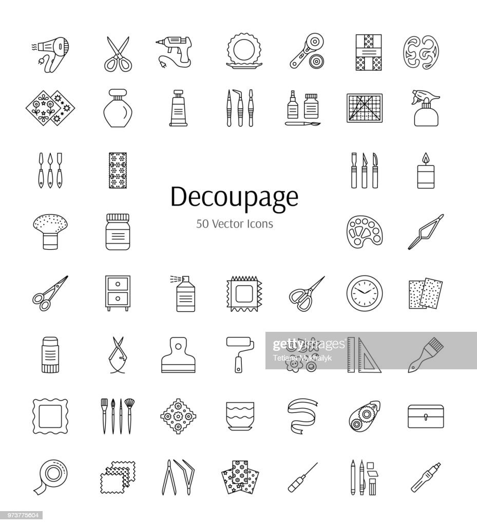 Vector line icons about paper craft. Decoupage tools and accessories. Home decorations from paper napkins and glue