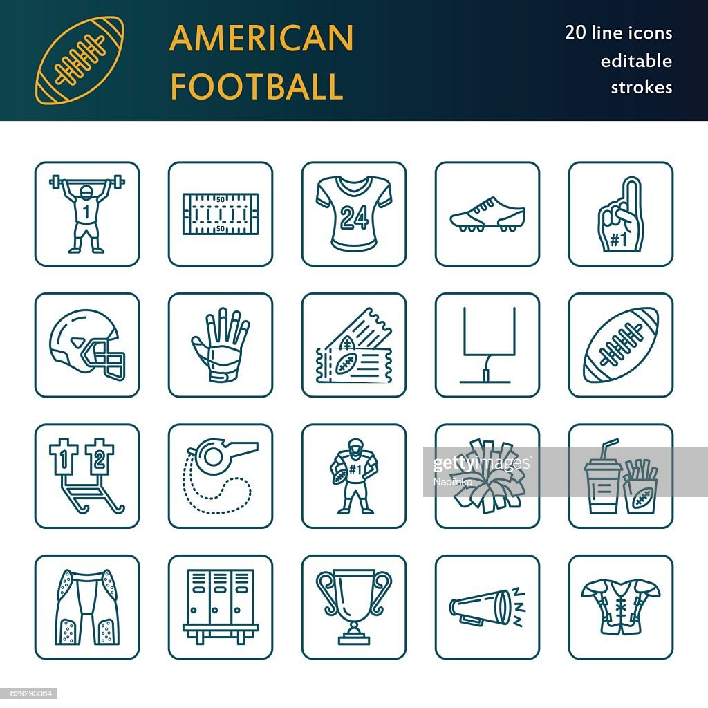 Vector line icons of american football game. Elements - ball