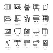 Vector line icons with radiator, convector and fireplace. Heating equipment for home and office. Different styles of gas, oil & electric heaters.