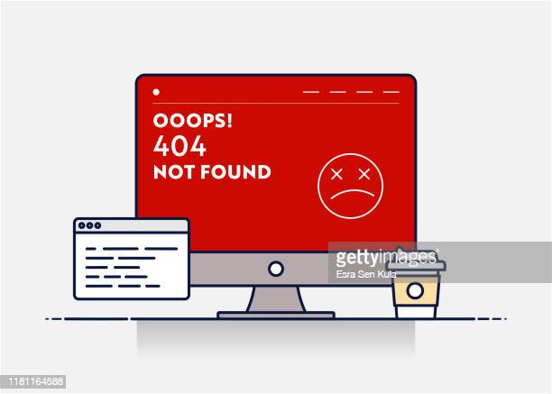 vector line illustration concept for 404 not found. editable stroke and pixel perfect. - reconciliation stock illustrations