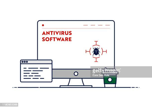 vector line illustration concept for antivirus software. editable stroke and pixel perfect. - malfarbe stock illustrations