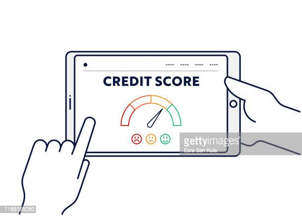 vector line illustration concept for credit score. editable stroke and pixel perfect. - mortgage loan stock illustrations