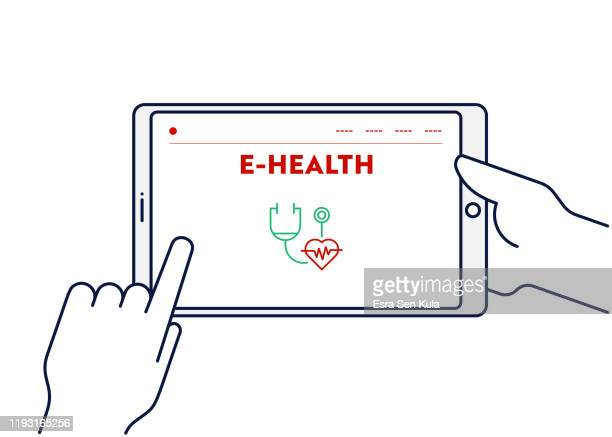 vector line illustration concept for e-health. editable stroke and pixel perfect. - cardiologist stock illustrations