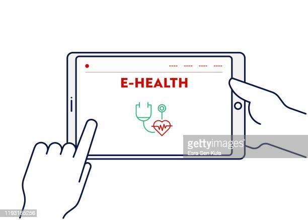 illustrazioni stock, clip art, cartoni animati e icone di tendenza di concetto di illustrazione vettoriale della linea per l'e-health. tratto modificabile e pixel perfetto. - pc ultramobile