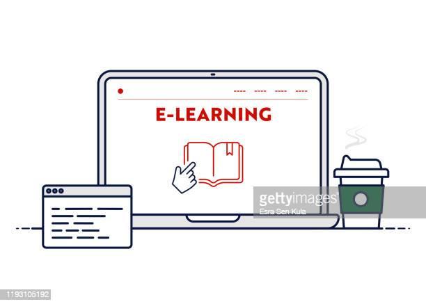 vector line illustration concept für e-learning. bearbeitbare strich und pixel perfekt. - bildungseinrichtung stock-grafiken, -clipart, -cartoons und -symbole