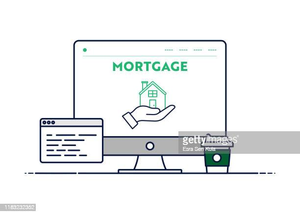 vector line illustration concept for mortgage. editable stroke and pixel perfect. - commercial real estate stock illustrations
