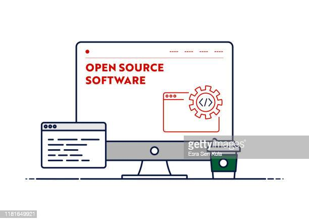 vector line illustration concept for open source software. editable stroke and pixel perfect. - receiving stock illustrations